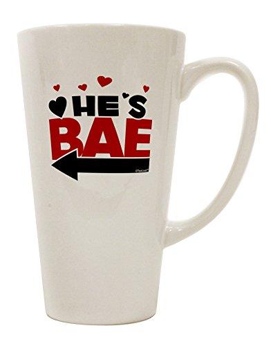TooLoud He's BAE - Left Arrow 16 Ounce Conical Latte Coffee Mug