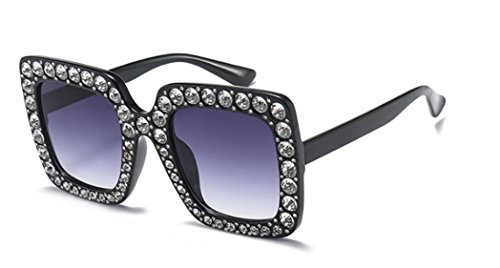 My Shades - Designer Inspired Oversize Square Frame Transparent Sunglasses Jewel Toned Colors Embellishments (Black, - Mens Shades Designer