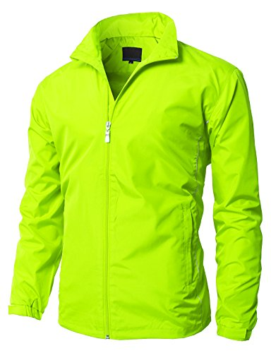 H2H Mens Basic Designed Lightweight Jacket Waterproof Outwear of Front Pockets NEON US 2XL/Asia 3XL (KMOJA0366) - Basic Bubble Jacket