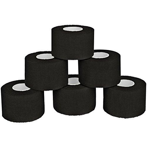6 x Sport-Tape 3,8 cm x 10 m in 11 verschiedenen Farben, Farbe:schwarz