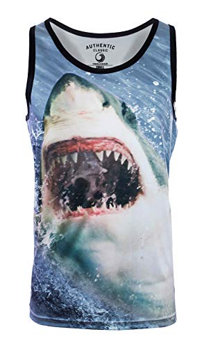 VBRANDED Men's Tank Slim Fit Muscle Shirt Medium Shark Art Print Tank Top