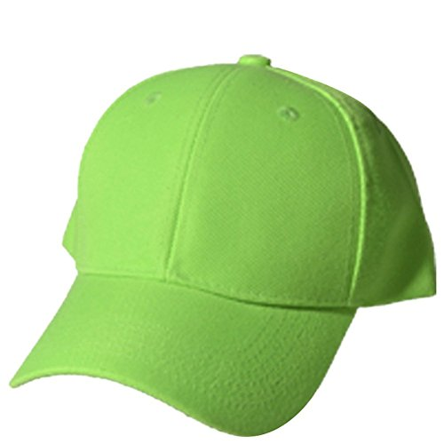 QML Plain Baseball Blank Hat Solid Color Velcro Adjustable ( 30 Colors ) (LIME)