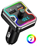 Bluetooth FM Transmitter for Car, Comsoon 7 Colors LED Backlit Bluetooth Car Adapter