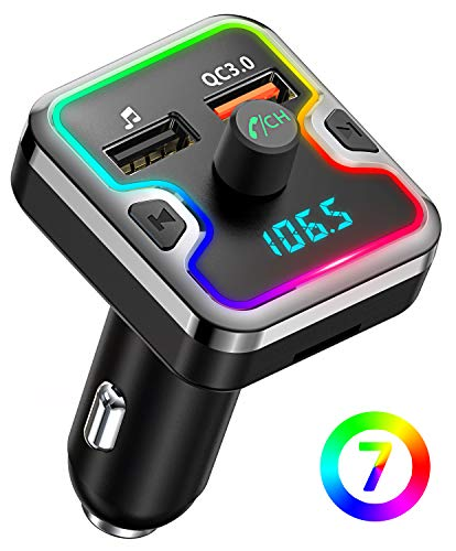Bluetooth FM Transmitter for Car, Comsoon 7 Colors LED Backlit Bluetooth Car Adapter, Bluetooth Receiver Car Kit with Hands-Free Calling, QC3.0 Car Charger, Support USB Disk, microSD Card (Black) (Car Antenna Mp3 Adapter)