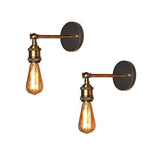 (Industrial Simplicity Wall Sconce, Motent 2pcs 7.4 inches Height Vintage Retro Adjustable Wall Light Metal Bronze Wall Lamp for Bedroom Living Room Toilet - Single Head)