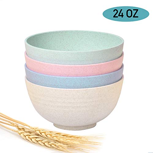 Shopwithgreen Kids Unbreakable Cereal Bowls - 24 OZ Wheat Straw Fiber Lightweight Degradable Bowl Sets 4 - Dishwasher & Microwave Safe - Eco-Friendly - for Children,Rice,Soup Bowls