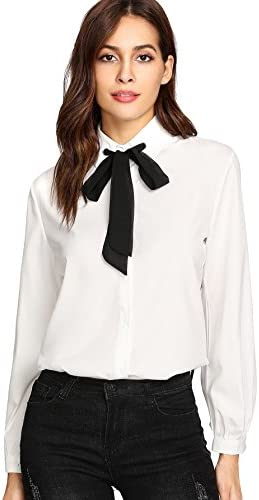 SheIn Women's Bow Tie Neck Ruffle Long Sleeve Chiffon Shirt Blouse Top
