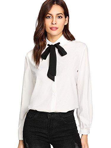 (SheIn Women's Bow Tie Neck Ruffle Long Sleeve Chiffon Shirt Blouse Top White# Medium)