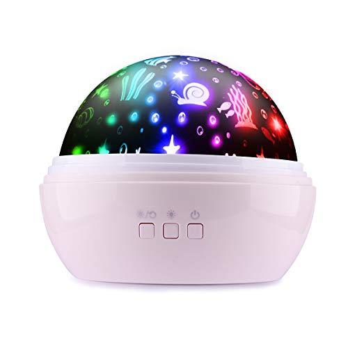 Night Light for Kids, Ifecco Baby Moon Star Night Light Rotating Ocean Projector Adjustable Brightness & 8 Color USB Cable/Batteries Powered for Party, Bedroom (Pink)