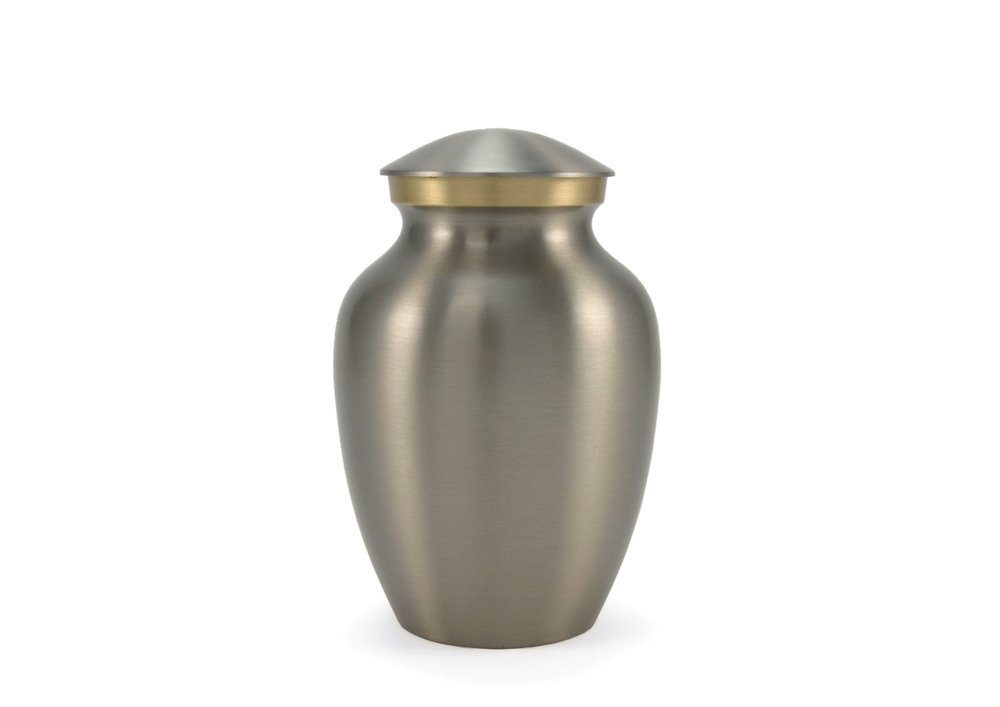 (40 Cubic Inches, Brushed Pewter) Near & Dear Pet Memorials Classic Brass Pet Cremation Urn