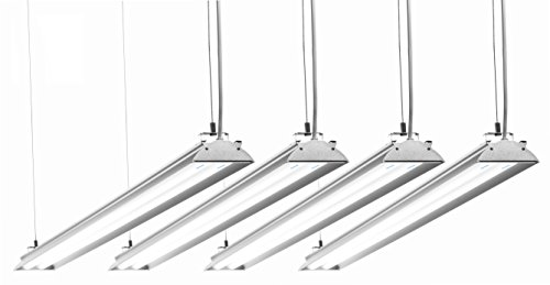 HyperSelect Utility LED Shop Light, 4FT Integrated LED Fixture Garage Light, DLC 4.2 Premium Qualified, 35W (100W Eq.), 3800 Lumens, 4000K (Daylight White Glow), Frosted Cover - Pack of 4