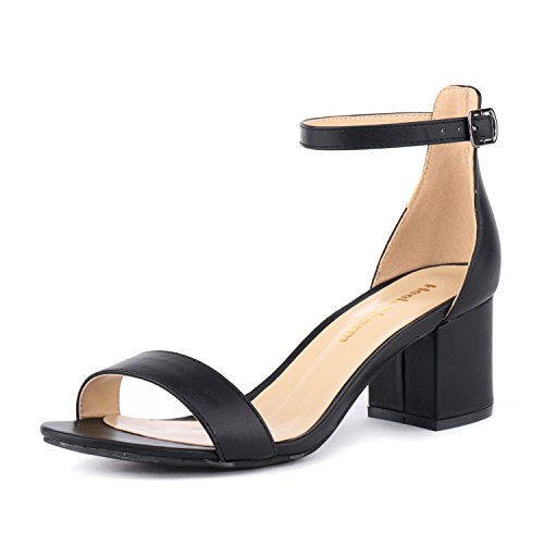 Women's Strappy Chunky Block Low Heeled Sandals 2 Inch Open Toe Ankle Strap High Heel Dress Sandals Daily Work Party Shoes Black Size 5