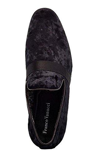 On Vanucci Franco Club Smoking Black Slip 3 Night Slippers Shoe Embroidered Dress Men's Velvet Loafers HFndqvwFx