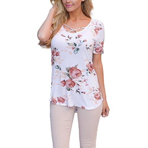 b4e6d85aec7 Chemise Croisee Femme Boheme Hippie Chic Haut Imprimé Fleuri Mode T-Shirt  Manche Courte Fille