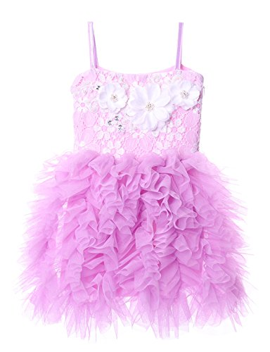 Cilucu Girls Dress Kids Party Dress Toddler Tutu Pageant Beaded Lace Dresses for Flower Girl Baby Gown Birthday Purple/Lavender 6T-7T