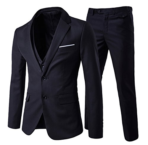 Men's Modern Fit 3-Piece Suit Blazer Jacket Tux Vest and Trousers, XX-Large, Black