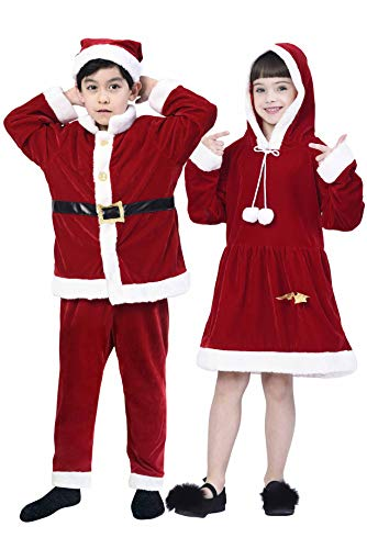 IKALI Boys' Xmas Claus Santa Costume,Toddler Kids Role Play & Dress Up,Red Winter Velet Suits for Christmas Fancy Party (3-4T)