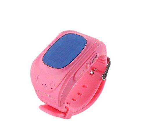 Kinder Smart Uhr, Techkoo Smart Watch für Kinder, 0,96 Zoll GPS Tracker(Wecker Stellen, Telefonieren, GPS Orten, fern reden, Schritte Zählen usw.) für iPhone, Samsung, Rosa