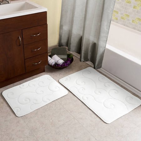 Somerset Home Memory Foam Bath Mat Set, 2-Piece, Coral Fleece Embossed Pattern (Somerset Tub)
