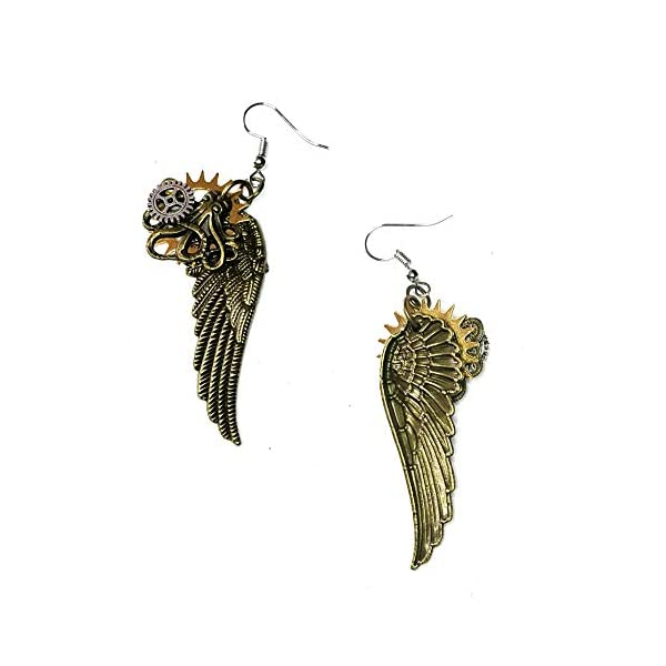Joji Boutique Steampunk Collection: Antiqued Mix-Tone Gear & Cog Angel Wing Drop Earrings 4