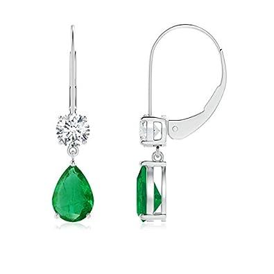 Angara Leverback Emerald Drop Earrings in Platinum NQf3EN6