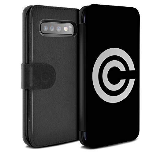 eSwish PU Leather Wallet Flip Case/Cover for Samsung Galaxy S10 Plus/Capsule Corp Inspired Design/Anime Fighters Collection