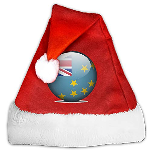 Very Merry Christmas Party Button - Flag Button of Tuvalu Christmas Santa Hat Party Caps for Childrens and Adults Family Party
