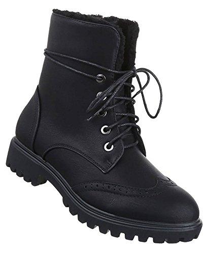Damen Boots Schuhe Schnür Stiefeletten Schwarz Beige Grau Braun 36 37 38 39 40 41 Schwarz
