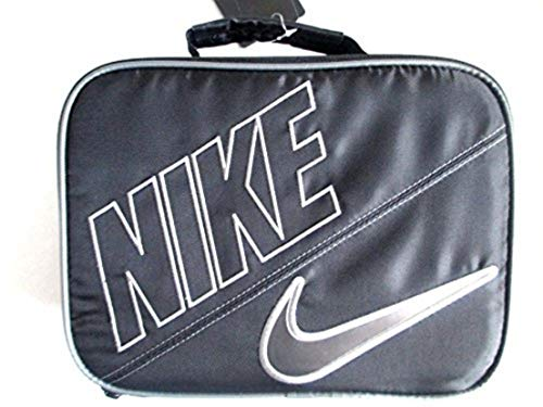 NIKE Insulated Rectangular Sport Lunch Tote (Black/Anthracite Grey Trim with Signature Silver Swoosh) ()
