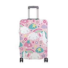 Luggage Cover Rainbow White Unicorn Elastic Travel Suitcase Protector Fits 18-32 Inch