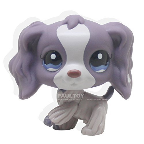 LHJ Rare Littlest Pet Shop Purple Cocker Spaniel Dog Puppy Blue Eyes LPS #1209 Toy
