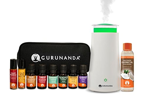 GuruNanda Aromatherapy Diffuser + Essential Oils Starter Kit | EO Diffuser | 6 Essential Oils 15ml | 2 Essential Oil Roll Ons 10ml | Fractionated Coconut Carrier Oil 4oz | Essential Oils Carrying Case ()