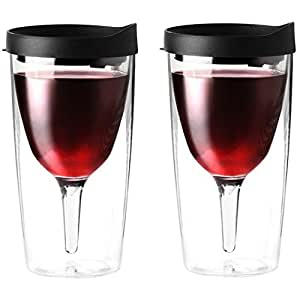 Vino2Go Double Wall Acrylic Tumbler with Black Lids, 10 oz, Pack of 2