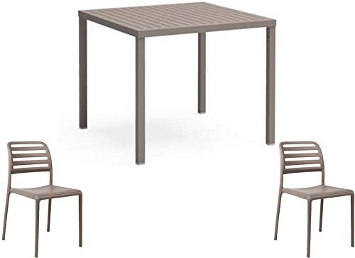 Oferta mesa Cube 80 x 80 + 2 sillas Costa Pardo Jardín anti UV exterior Nardi: Amazon.es: Jardín