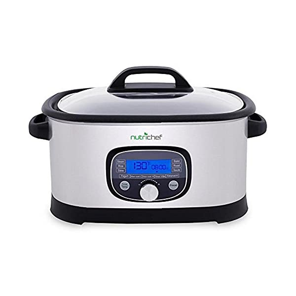 NutriChef Sous Vide Slow Cooker - 11 in 1 Steamer Stainless Steel High-Pressure Multi Cooker Crock Pot w/ Digital LCD… 2