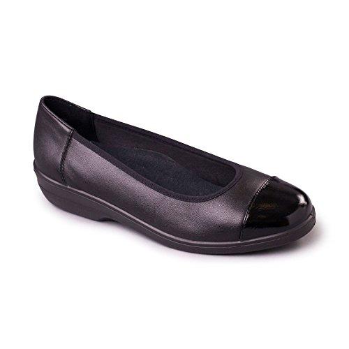 Padders Women's Leather Pump 'Fearne' | Extra Wide EE Fit | 30mm Heel | Free Footcare UK shoehorn Black/Combi XIKnes