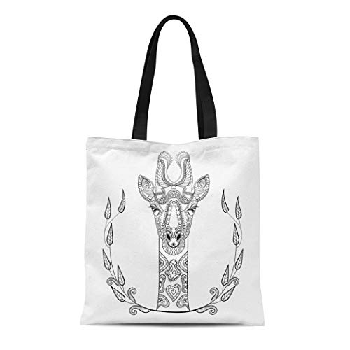 Semtomn Cotton Canvas Tote Bag Zentangle Giraffe Head Totem in for Adult Anti Stress Reusable Shoulder Grocery Shopping Bags Handbag Printed]()