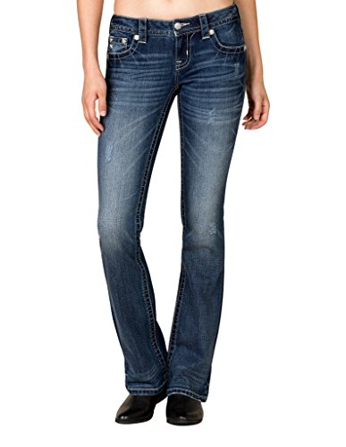 Miss Me Women's Dark Wash Blue Chevron Bootcut Jeans