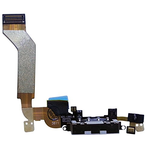 Johncase USB Charging Port Dock Connector Flex Cable + Microphone Replacement Part Compatible with iPhone 4s ()