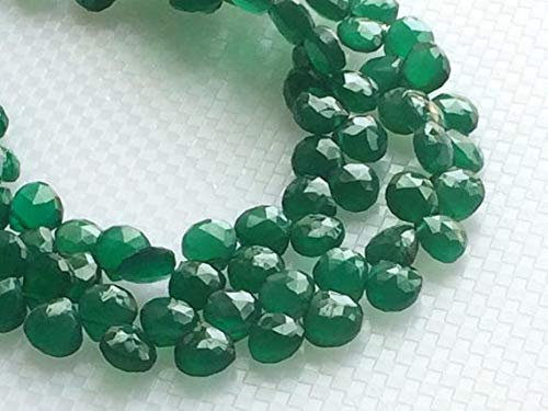 GemAbyss Beads Gemstone 1 Strand Natural Green Onyx Faceted Heart Beads, Green Onyx Heart Briolettes, Emerald Green Onyx, Green Onyx Necklace, 7mm, 3.5 Inch Code-MVG-19490