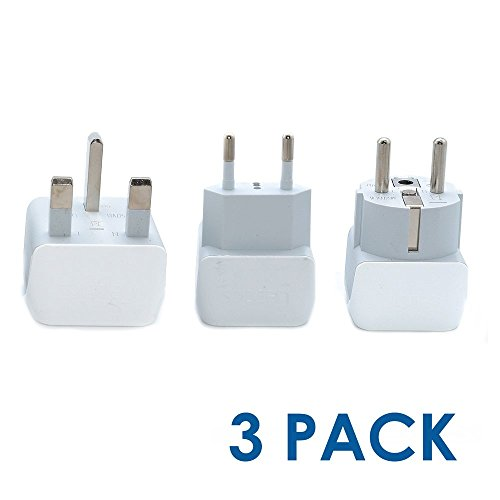 Ceptics European Travel Adapter Set 2 in 1 USA to Europe, Germany, England, Spain, Italy, Iceland, France (Type G, E/F, Type C) - 3 Pack (Does Not Convert Voltage)