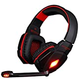 VersionTech KOTION EACH G4000 Professional 3.5mm PC Gaming Stereo Noise Isolating Headset Headphone Earphones with Volume Control Microphone HiFi Driver For Desktop Computer - Red & Black