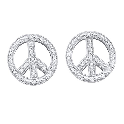 Sign Diamond Earring Gold Peace - 10k White Gold Pave Set Round Diamond Peace Sign Stud Earrings - (.15 cttw)