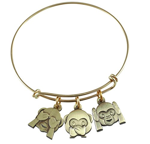 WIZARDPINS Emoji Charm Bracelet (Monkey Business- Antique -