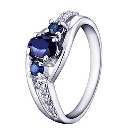 VBJewels Women's .60 Carat Three Antique Blue Sapphire Engagement Ring For Women 12