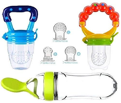 - Baby Food Feeder, Pacifier Fruit- Fresh silicone Bottle Squeeze Spoon Frozen fruit Teething Pacifiers Nibbler Hygienic Cover Newborn Teeth with Meshes Sizes Solid Nipple for Baby Food Dispensing Spoon
