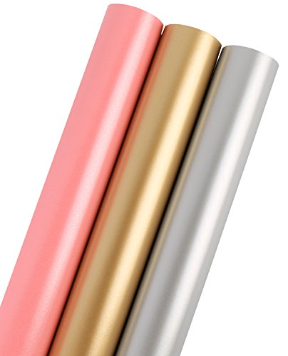 LaRibbons Gift Wrapping Paper - 75 sq ft. - Solid Matte Pink/Silve/Golden - Sold (Gift Wrap Paper)
