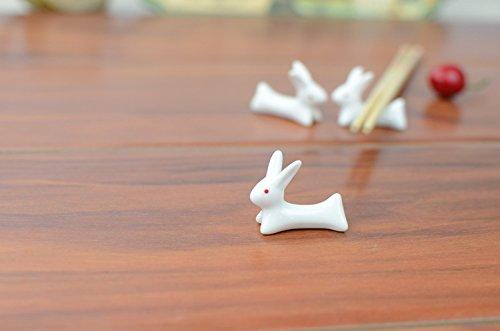 VANCORE 8 Pcs Set Cute Rabbit Ceramic Chopsticks Rest Rack by VANCORE (Image #2)