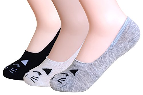 QBSM 3 Pack Womens Girls Cute Cat Socks Cotton No Show Liners Low Cut Socks Mother's Day Gift - Kids 3pk No Show Sock