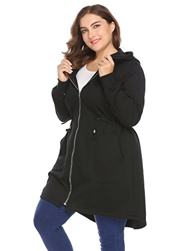 Zeagoo Women's Plus Size Casual Zip up Fleece Hoodies Long Tunic Hooded Sweatshirt Jacket Coat Outerwear With Pockets,Black,16